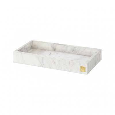 HILKE COLLECTION - Marble Tray with logo in 100% brass